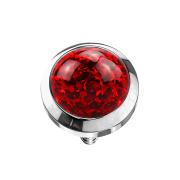 Dermal Anchor Kristall Kuppel rot mit Epoxy Schutzschicht