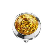 Dermal Anchor Kristall Kuppel gelb mit Epoxy Schutzschicht