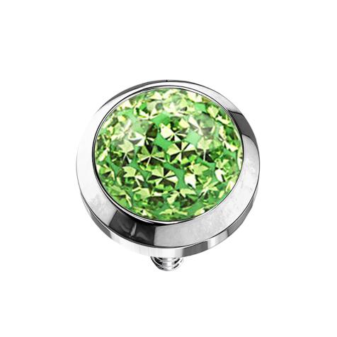 Dermal Anchor Kristall Kuppel hellgrün mit Epoxy Schutzschicht