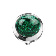 Dermal Anchor Kristall Kuppel grün mit Epoxy Schutzschicht
