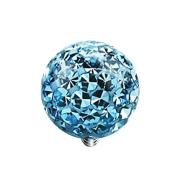 Dermal Anchor Kristall Kugel aqua mit Epoxy Schutzschicht