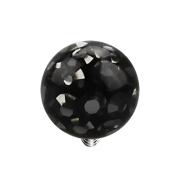 Dermal Anchor Kristall Kugel schwarz mit Epoxy Schutzschicht