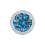 Micro Kugel silber mit Kristall hellblau
