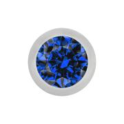 Micro Kugel silber mit Kristall dunkelblau