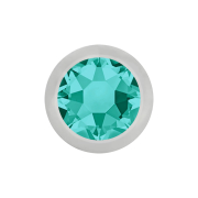 Micro Kugel silber mit Kristall türkis