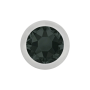 Micro Kugel silber mit Kristall schwarz