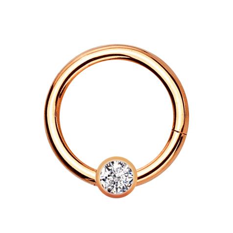 Micro Segmentring rosegold klappbar mit Kugel Kristall silber