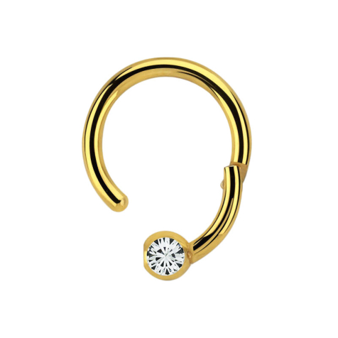 Micro Segmentring vergoldet klappbar mit Kugel Kristall silber