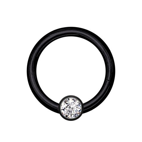 Micro Segmentring schwarz klappbar mit Kugel Kristall silber