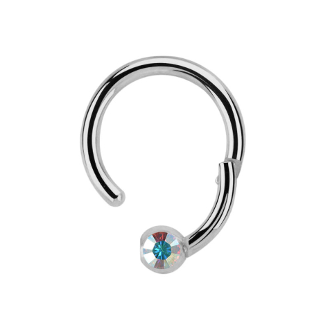 Micro Segmentring silber klappbar mit Kugel Kristall multicolor
