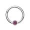 Micro Segmentring silber klappbar mit Kugel Kristall pink