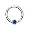 Micro Segmentring silber klappbar mit Kugel Kristall dunkelblau