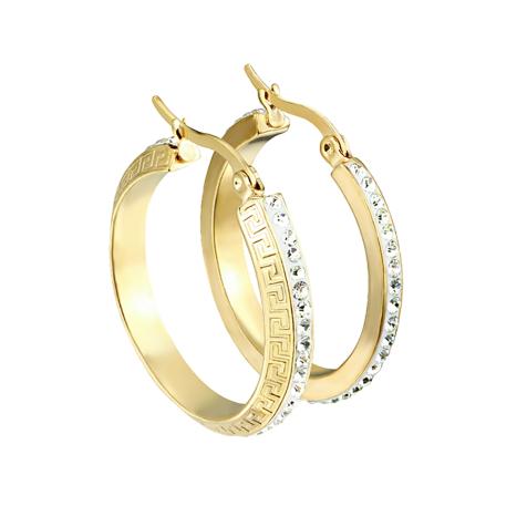 Ohrring vergoldet Labyrinth seitlich mit Kristallen