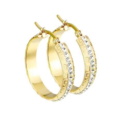 Ohrring vergoldet Labyrinth zweimal seitlich mit Kristallen