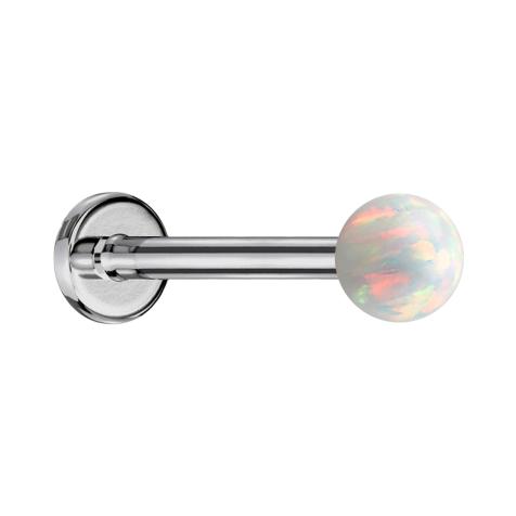 Micro Labret silber mit Kugel Opal weiss