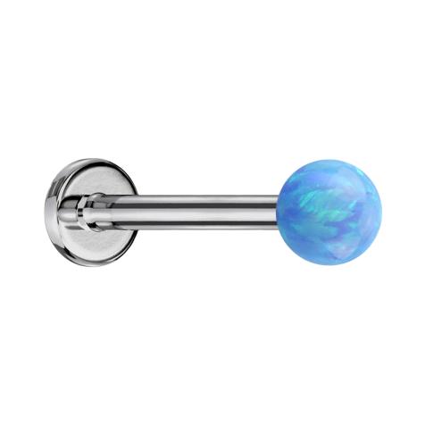 Micro Labret silber mit Kugel Opal hellblau