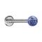 Micro Labret silber mit Kristallkugel hellblau und Epoxy Schutzschicht