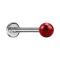 Micro Labret silber mit Kristallkugel rot und Epoxy Schutzschicht
