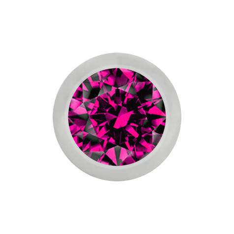 Micro Kugel silber mit Kristall fuchsia