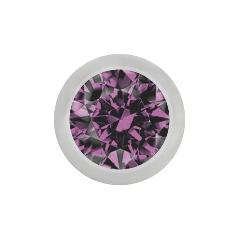 Micro Kugel silber mit Kristall hellviolett