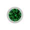 Kugel silber mit Kristall grün