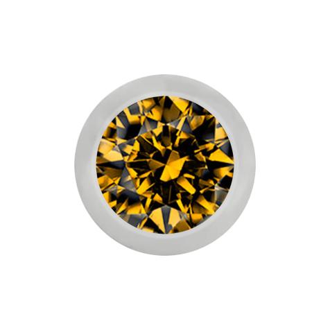 Micro Kugel silber mit Kristall topaz