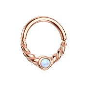 Micro Piercing Ring rosegold halb geflochten mit Opal weiss