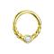 Micro Piercing Ring vergoldet halb geflochten mit Opal weiss