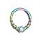Micro Piercing Ring farbig halb geflochten mit Opal weiss