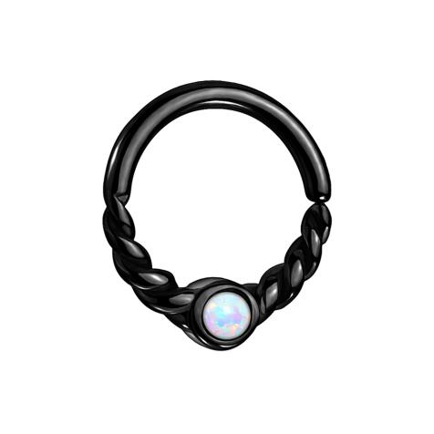Micro Piercing Ring schwarz halb geflochten mit Opal weiss