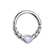 Micro Piercing Ring silber halb geflochten mit Opal weiss