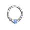 Micro Piercing Ring silber halb geflochten mit Opal blau