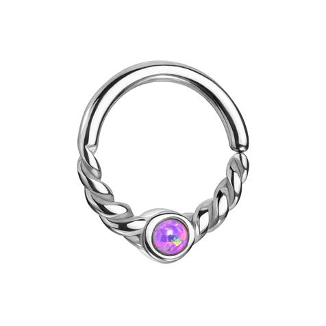 Micro Piercing Ring silber halb geflochten mit Opal violett