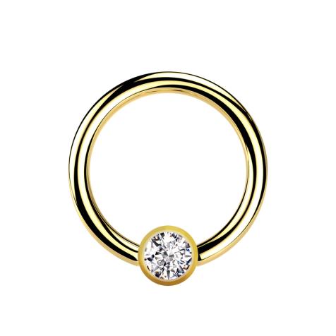 Micro Ball Closure Ring vergoldet mit Kugel Kristall silber