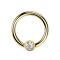 Ball Closure Ring vergoldet mit Kugel Kristall silber