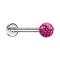 Micro Labret silber mit Kristallkugel pink und Epoxy Schutzschicht