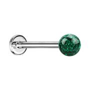 Micro Labret silber mit Kristallkugel grün und Epoxy Schutzschicht