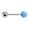 Micro Barbell silber mit Kugel und Kugel Opal hellblau