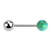 Micro Barbell silber mit Kugel und Kugel Opal grün