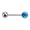Micro Barbell silber mit Kugel und Kugel Opal blau