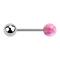 Micro Barbell silber mit Kugel und Kugel Opal pink