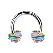 Micro Circular Barbell silber Regenbogen Herz