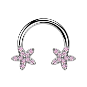 Micro Circular Barbell silber Kristallstern pink