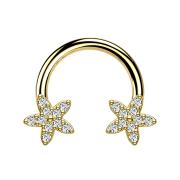 Micro Circular Barbell 14k vergoldet Kristallstern silber