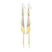 Ohrring vergoldet ein und zweifarbige Dreiecke mit Kette