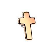 Dermal Anchor Kreuz rosegold