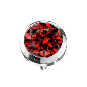 Dermal Anchor silber mit Kristall rot