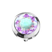 Dermal Anchor silber mit Kristall multicolor