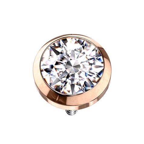 Dermal Anchor rosegold mit Kristall silber