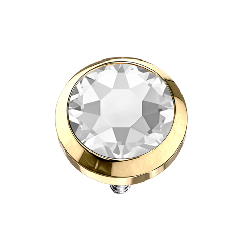 Dermal Anchor vergoldet mit Kristall silber